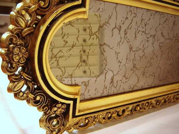 Ornate mirror gold mirror small mirror gold vanity tray for Small gold mirror