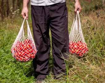 Market Bag, Reusable Cotton bag, String Bag, Eco friendly Natural Cotton Bag, Grocery Tote bag #000