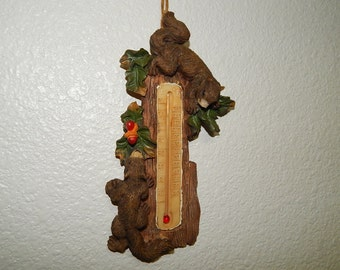 "3 1/2"" x 7"" Wall Thermometer Brown Squirrels on Tree"