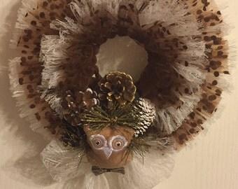 Woodland Owl Tulle Wreath