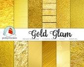 Gold Digital Paper - Gold Foil Paper, Gold Glitter, Gold Bokeh Paper digital paper photography backdrop Instant Download 8072