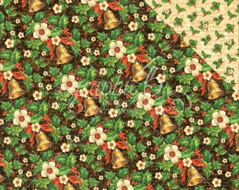 2 Sheets of ST. NICHOLAS Christmas Scrapbook Cardstock by Graphic 45 Paper - Bells and Bows