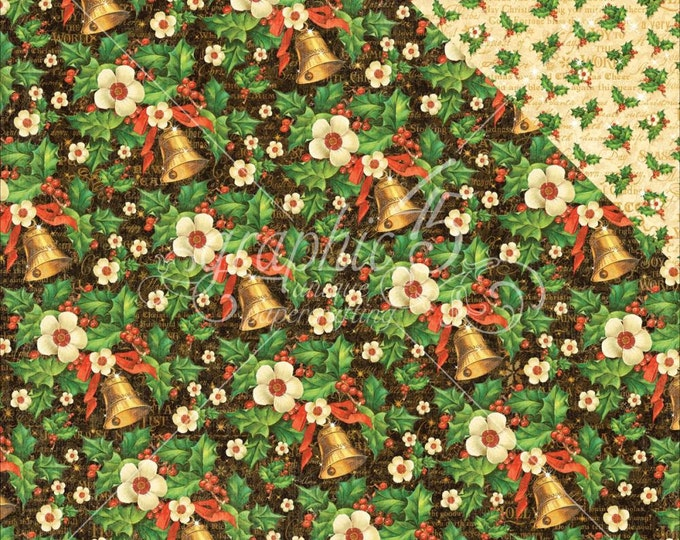 2 Sheets of ST. NICHOLAS Christmas Scrapbook Paper by Graphic 45 - Bells and Bows