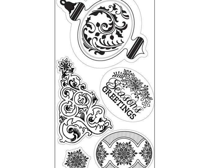 New! Sizzix Interchangeable Clear Stamps - Christmas Greetings, Ornament & Tree by Jen Long