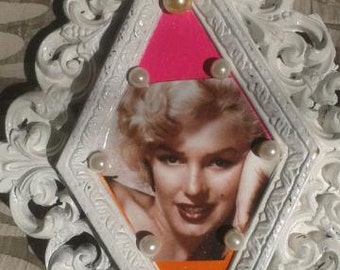 Marilyn Monroe Glamour Inspired Shabby Chic Hollywood Regency Decoupage Wall Hanging