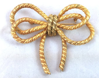 Vintage Cadoro Gold Tone Rope Bow Brooch, Big Bow Brooch, Cadoro Brooch, Designer Signed Jewelry, Gold Ribbon Pin, Twisted and Tied Brooch
