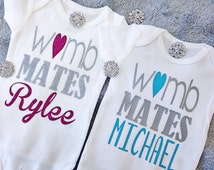 Womb Mates, Twin Girl and Boy Outfit Set, Twin Take Home Infant Outfit, Newborn Twin Baby Shower Gift, Twin Hospital Newborn Outfit