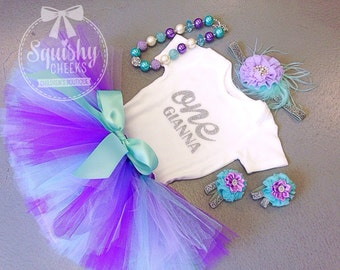 Tutu Birthday Outfit, 1st Birthday Outfit, Trendy First Birthday, Baby Girl 1st Birthday Outfit, Purple and Aqua Birthday Outfit, One Shirt