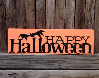 "Happy Halloween Decorations Halloween Sign Halloween Decor Fall Decor Pumpkins Typography Subway Sign 6x20"" Mantle Decor Halloween Mantle"