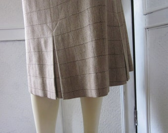 """1950s Tan and Brown Plaid Pencil Skirt by """"Cerey, Tailored by Sloat,"""" Size 4 - 6"""