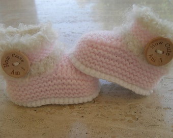 Knitted Baby Girl Booties, Baby Girl  Boots, Fur Boots, Fur Booties - Size 0 to 3 Months Ready Made