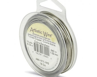18 Gauge - Silver (Tinned Copper)  Wire  -  Artistic /Craft Wire-  colored wire - 10 yd Pkg