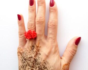 Poppy ring, poppy red ring, poppy adjustable ring, red poppy, polymer clay jewelry, polymer clay ring, poppy jewelry ring, red poppy ring