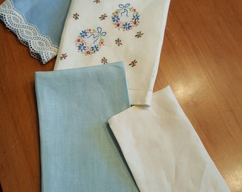 NeW SaLe ToDaY...Sweet Variety of  4 Antique TEA TOWELS, Hand Towels,guest towels, tea towels, Antique linens