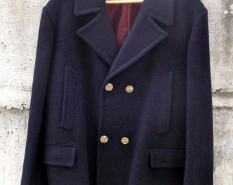 Tailored wool coat 100% made in Italy 60 years size L