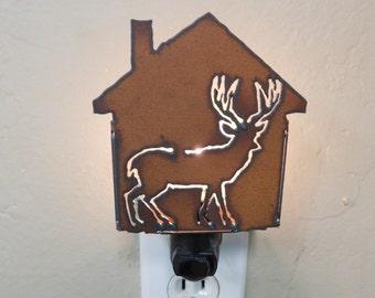 Deer Nightlight made of rusted metal