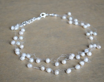 White Pearl Floating necklace,Wedding Illusion Necklace