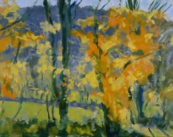 Original Oil Painting, Autumn Trees, Fall Landscape, Berkshire Landscape, by Robert Lafond
