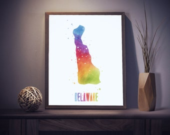 Delaware Print - Delaware Watercolor - Watercolor State Art - Delaware State - Dorm Room Decor - Delaware Art Print - Office Decor