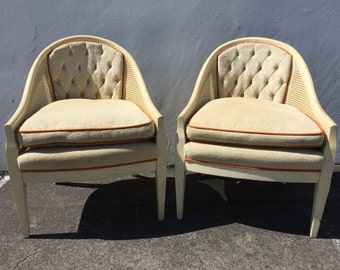 2 Vintage Lounge Chairs Armchair Cane Fabric Lounge Slipper French  Provincial Chic Orange Antique Hollywood Regency