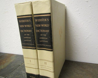1960 WEBSTER'S New WORLD DICTIONARY of the American Language 2 volume set ** Illustrated ** mid century