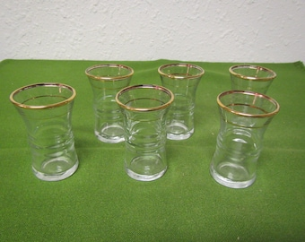 vintage set of 6 Gold tone Trimmed  Glass Cordials ** Glasses are  2  3/4 inches tall