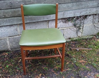 Vintage Retro Kitchen Dining Chair Green Covering