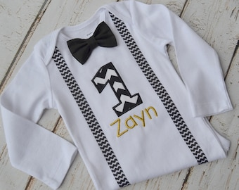 Baby Boy First Birthday Outfit, Personalized First Birthday, Birthday Outfit, Baby Boy Cake Smash, First Birthday Outfit, Black & Gold