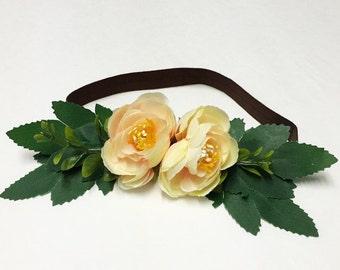 Soft Pinkish Ivory Peony Infant/Toddler Flower Crown Halo