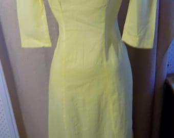 "1910? Yellow Cotton Dress, Small, Bust 34"""