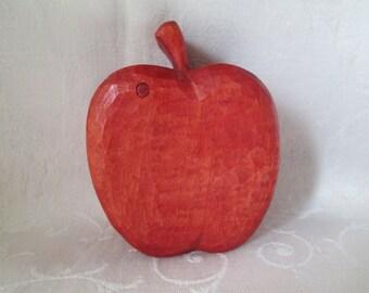 Vintage Wooden Apple Box, Hand Carved Red Apple Trinket Box