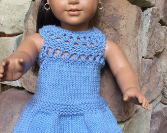 Blue Hand Knit Dress for American Girl Sized Dolls