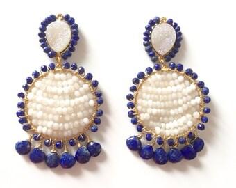 SALE-Lapis Beaded Statement Earrings