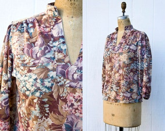 VINTAGE 1970s boho floral sheer poet sleeve blouse | Hippie wildflower gauze top | Size small