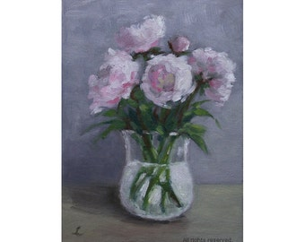 "Oil Painting ''Flowers in a Glass"" Still Live Painting, Fine Art Oil on Canvas, Small Painting Home Decor 13x18cm"