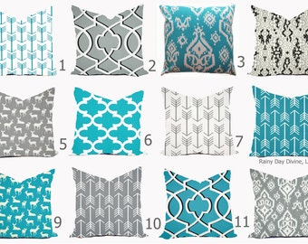 Pillows Cover Throw Accent Decor - Custom All Sizes - 16x16, 18x18 Aqua Turquoise Blue Grey White Modern Native Aztec Outdoor