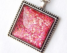 Hot Pink Pendant; Square Glass Pendant Necklace; Glitter Nail Polish Jewelry; Pink Glass Pendant; Square Necklace; Painted Glass Jewelry