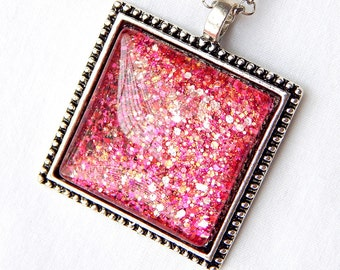 Hot Pink Pendant; Square Glass Pendant Necklace; Glitter Nail Polish Jewelry; Pink Glass Pendant; Square Necklace; Painted Glass Jewelry