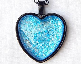 Blue Glass Heart Pendant; Glitter Nail Polish Jewelry; Black Heart Necklace; Painted Glass Pendant; Blue Pendant Necklace; Heart Jewelry