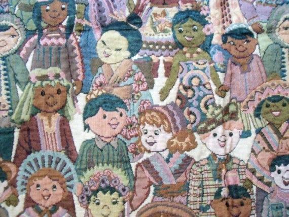 Tapestry fabric children of the world 2 3 yard 54 for Children of the world fabric