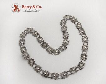 SaLe! sALe! Vintage Filigree Rosette Necklace Sterling Silver
