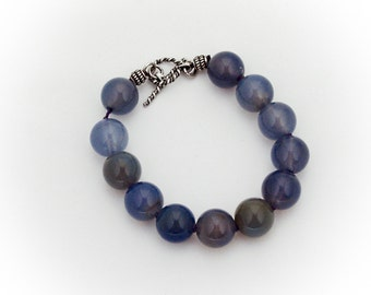 Dyed Agate Bead Bracelet Ornate Toggle Clasp Sterling Silver