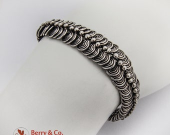 Mexican Modernist Double Scroll Link Bracelet Sterling Silver