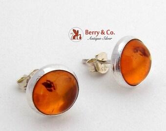 Vintage Amber Stud Earrings Sterling Silver