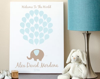 Baby Shower Guest Book Alternative, Elephant Baby Shower, Elephant Baby Shower Guest Book Alternative - 16x20 - 29 Balloons