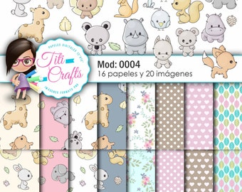 Digital paper kit Mod: 0004 tender animals