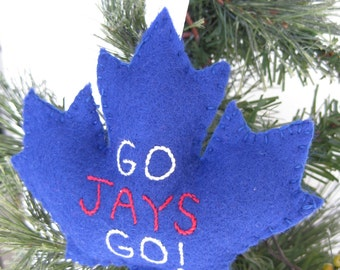 Toronto Blue Jays BLUE Maple Leaf Ornament // Go Jays Go! // Canada Ornament // Maple Leaf Ornament //