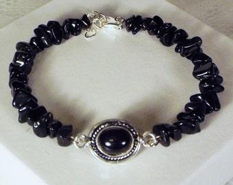 "Cynthia Lynn ""BOHO BLACK"" Sterling Silver Black Onyx Beaded Bracelet"