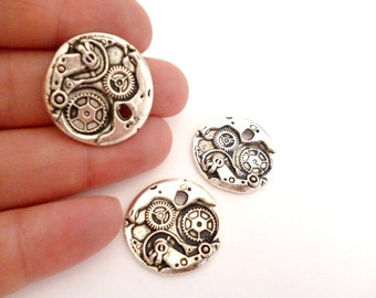 Silver Round Charm Pendant_ PP6000181243_ Silver Watch Parts Charm_ of 23x25 mm_ pack 10 pcs