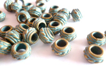 Brass Patina Aged Metal Beads_R40578825/010BP_Metal Large Hole Patina Beads_of 8x5 mm hole 4 mm pack 35 pcs